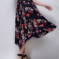 Dark Blue Hi Low Skirt With Rose Prints