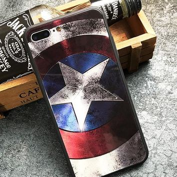 Captain America toughened glass phone case shell  for iphone 6/6s,iphone 6p/6splus,iphone 7/8,iphone 7p/8plus, iphonex