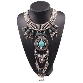 Vintage Alloy Big Bead Pendant Chunky Necklace