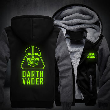 Design Men Women Star Wars Darth Vader Luminous Jacket Sweatshirts Thicken Hoodie Clothing Casual Coat
