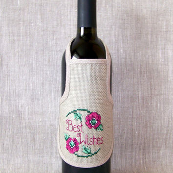 Champagne or Wine Bottle Apron, best wishes, cross stitch, flower, linen, table decoration, birthday gift idea, thank you idea