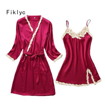 Fiklyc brand female sexy lace embroidery two pieces robe gown sets fashion summer nightwear pyjamas temptation homewear for girl