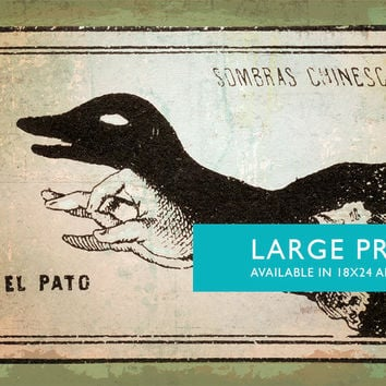 Mexican Shadow Puppet Show Print El Pato Decor Giclee Print on Cotton Canvas and Satin Photo Paper Poster Home Wall Art