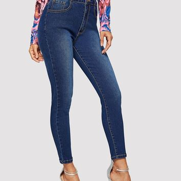 Ruffle Waist Button Front Skinny Jeans