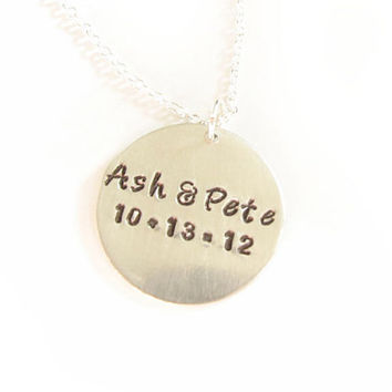 Customize Hand Stamped necklace whatever you like pendant chain birthday wedding