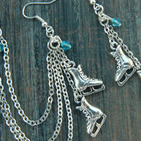 Ice skating earrings ice skates cuff chained earring SET Ice skates ice hockey earrings winter jewelry Frozen jewelry Christmas earrings