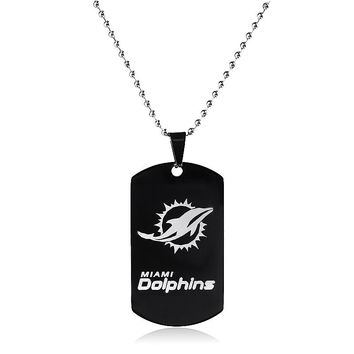 Miami Dolphins Sports Football Team Logo Tags Vintage Stainless Steel Military Army Tags Cards Necklace Pendants Male Gift