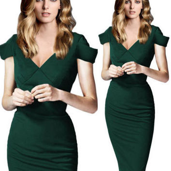 Green Cap Sleeve Deep V Neck Bodycon Midi Pencil Dress