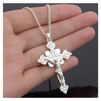 New Women Gold Plated Cross Jesus Design Pendant Charm Necklace