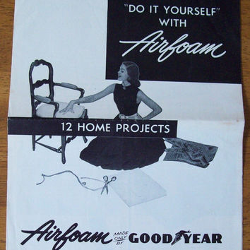 Vintage 1954 Goodyear Airfoam Craft Home Projects DIY Ad-Folder - Brochure - Old