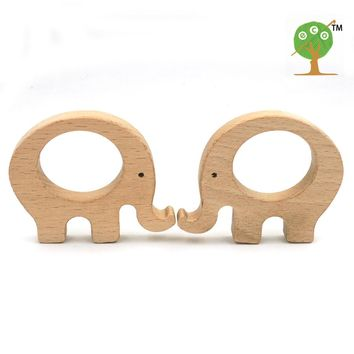 20pcs x 70mm unfinished beech wooden teether elephant Free Teether Clip pacifier clip elephant charm nursing necklace EA58-1