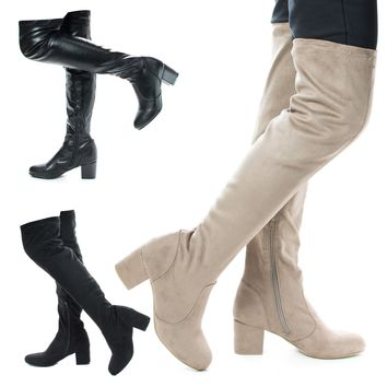 Autumn04S By Bamboo, Over Knee OTK Pull On High Block Heel Boots