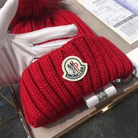 Moncler Trending Women Leisure Beanies Knit Winter Warm Hat Cap Red I