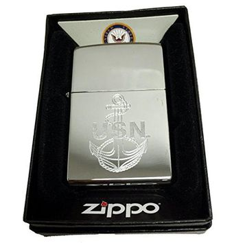 Zippo Custom Lighter - U.S. Navy Laser Engraving with Anchor Logo - Regular High Polish Chrome