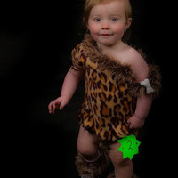 Cavegirl, dress outfit, play clothes, tunic and pants, toddler, leopard print, theme outfit, playtime costume, prehistoric, made to order