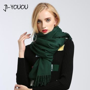 scarves women high fashion 2017 solid green purple shawls and wraps scarf ponchos capes hijab warm cotton women's wool scarf