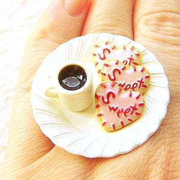 Coffee  Ring Kawaii Miniature Food Jewelry Pink Heart Cookies And A Coffee