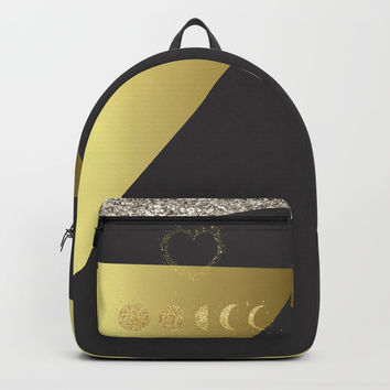 Faux Gold Moon Phases Gold Heart Backpack by art4sharing