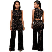 New Arrival Rompers Womens Jumpsuit Clothing Sexy Black Lace Jumpsuits Sleeveless Hollow Out Design Back Zipper Full Rompers