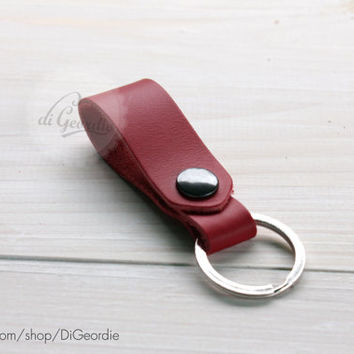 Leather keychain red leather key fob key chain genuine leather key chain belt strap key fob keychain leather key holder keychain leather
