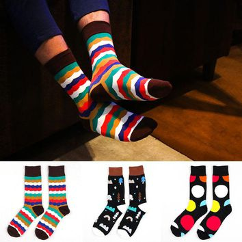 Men Cotton crew sock casual stripes dots winter novelty black