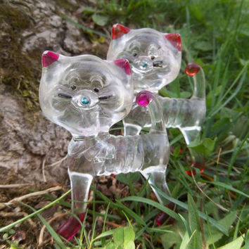 Vintage Cat Collectible Plastic Figurines Lucite Crystal Pets