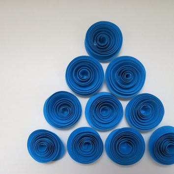 "Blue Paper Flowers Set 10 Wedding 1.5"" Roses Loose table decorations Birthday Party Bridal Shower Decor floral centerpiece ideas DIY project"