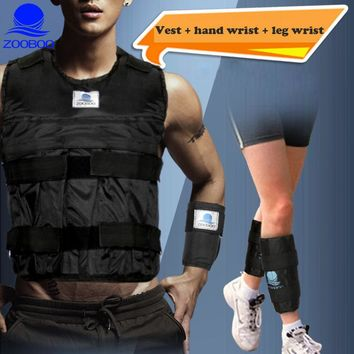 Men Weighted Vest Exercise Fitness Workout Boxing Training  Invisible Weightloading Sand Clothing + Weight Leg + Weight Wrist