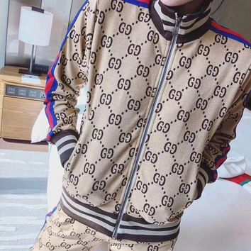 GUCCI Fashion Women Casual GG Letter Print Cotton Long Sleeve Jacket Jogging Ppant Two-Piece I