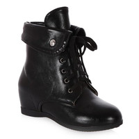 Black Hidden Wedge Lace Up Boots With Fold Over Design