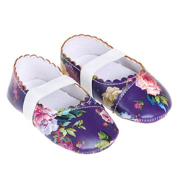 Newborn Baby Shoes Baby Girls Flower Print Dancing Shoes Toddler Kids Soft Sole Crib Shoes