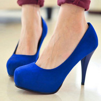 Womens Office Lady Platform High Heels Round Toe Solids Classic Pumps Shoes