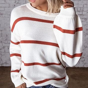 Scoop Neck Striped Knit Pullover Sweater
