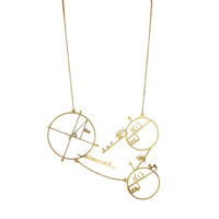 Three Math Circles Brass Necklace