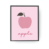 Apple Print, Children Education, School Room Art, Nursery Decor, Learning Fruits, Nursery Poster, Kids Print, Apple Illustration, Kids Decor