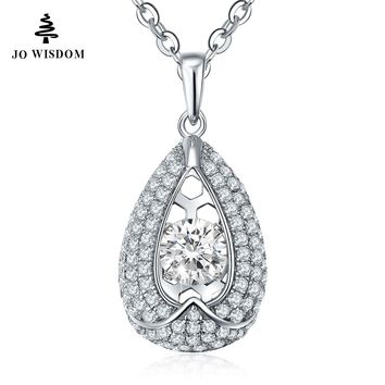 JO WISDOM Natural Topaz Dancing Stone 925 Sterling Silver Pendant & Necklace Collares Kolyefor Women