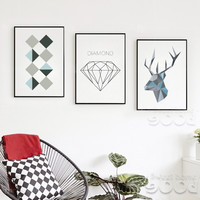 Sample Geometric Shape Canvas Art Print Painting,  Wall Pictures for Home Decoration - Free SHIPPING*