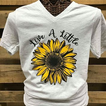 Southern Chics Live a Little Sunflower Canvas V-Neck T Shirt