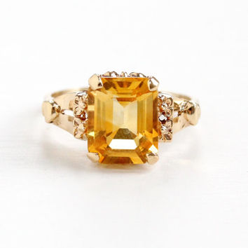 Vintage 14k Rose Gold Genuine Citrine Floral Ring - Art Deco 1930s 1940s Size 6 Orange Yellow Gemstone Fine Flower Accented Jewelry