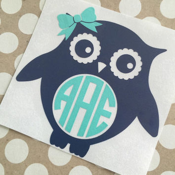 Owl Monogram Decal | Southern Owl Lady Monograms | Southern Charm Decals | Country Girl Decal | Truck Decal | Southern Decal | Preppy Decal