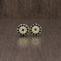 925 sterling silver gold vermeil plated cubic zirconia cz round evil eye black & gold stud earrings
