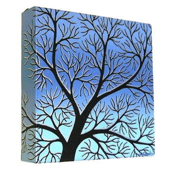 Winter Tree Branches Silhouette Art - acrylic painting