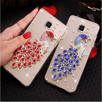 Luxury 3D Peacock Bird bling Crystal diamond Mobile phone Shell Back Cover Hard Case For Samsung Galaxy J1 Mini (2016) J105 4.0