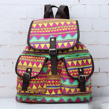 LMFON1O Day First Aztec Ethnic Travel Bag Canvas Lightweight College Backpack