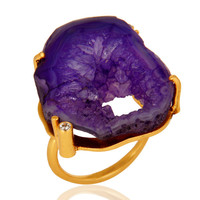 Natural Druzy Agate Prong Setting Yellow Gold Vermeil Cocktail Ring