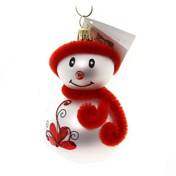 Golden Bell Collection Snowman With Red Hat Glass Ornament