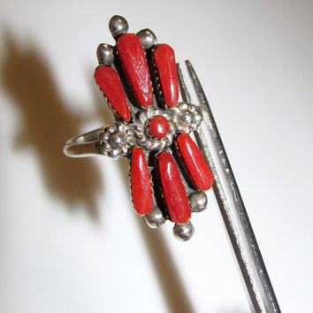 Native American Zuni Sterling Silver Mediterranean Coral Cluster Statement Ring Size 7