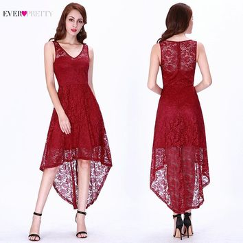 Homecoming Dresses 2019 Ever Pretty EP03063BD Burgundy V-Neck Full Lace Sleeveless Graduation Dresses Sexy Short Party Gowns