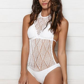 Volcom Dawn Dreamer Crochet Knit One Piece Bathing Suit Swimsuit - Womens Swimwear - White