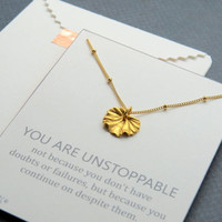Inspirational Necklace - Gold Ginkgo Leaf Necklace - Unstoppable